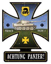 """14"""" X 18""""  - Achtung Panzer! Iron Cross Metal Sign"""