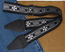 Silver CELTIC Gothic Maltese CROSS Cotton USA made TROPHY Guitar Strap