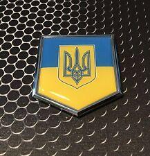 "Ukraine Flag Domed CHROME Emblem Proud UA Flag Car 3D Sticker 2""x 2.25"""
