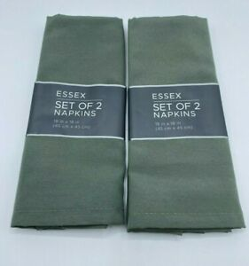 """Cloth Napkins 18"""" X 18"""" Green Essex Set of 4 Town & Country Living Polyester"""