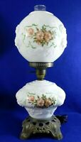 Antique/Vtg Fenton PUFFY ROSES Gone With The Wind GWTW Hurricane Table Lamp