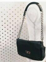 Coach #17825 Chelsea Black Leather Flap Shoulder Crossbody Bag  Purse