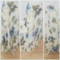 St Michael M&S Vintage Blue Cream Floral Print Maxi Skirt Summer Lined Floaty S