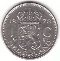 Netherlands 1 Gulden 1978 Nickel Coin - Juliana Koningin