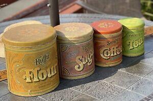 4 Vintage Ballonoff Tin Fluffy Flour Tea Sugar Sunshine Coffee Canister Set 1977
