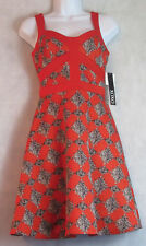 XOXO Juniors' Printed Fit-and-Flare Sweetheart Dress, Red-Orange Multi, XS