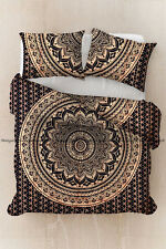 Indian cotton ombre gold mandala boho bohemian duvet quilt cover comforter cover