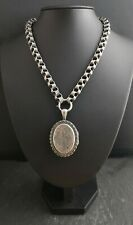 Antique Victorian silver locket and collar necklace