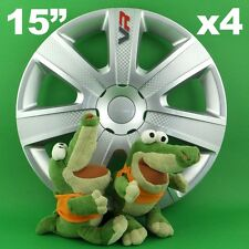 "Hubcaps 15"" VR Wheel Trim Cover CARBON for SKODA Fabia Octavia Rapid"
