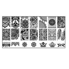 Stamping  Paris Fullcover Spitze Muster Feder Krone BC-03