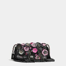 Coach 1941 Wild Tea Rose Fringe Dinky Bag Black/Pink 86847 Crossbody  $795