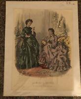"Victorian Vintage Fashion Print  ""La Mode Illustree"" Paris Two Victorian Ladies"