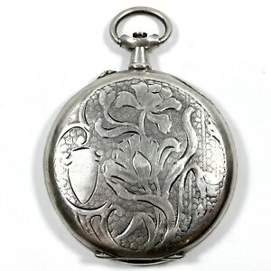 Antique 1890s French Import Fine Silver Pocket Watch Case 39.5mm - Dented & Worn