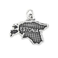 Sterling Silver Map of Estonia Travel Charm