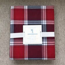 POTTERY BARN KIDS organic plaid duvet cover only Twin red navy