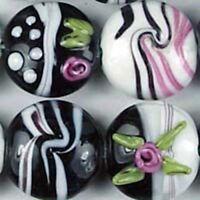 "6 Lampwork Handmade Glass /""Wide Berries/"" Lentil Beads 18mm"