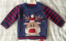 Baby Boys Super Cute Knitted Navy Blue Christmas Jumper ~ Reindeer/Rudolf ~ 3-6m