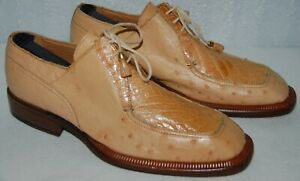 Oxfords Dress Shoes Men's David Eden Handmade Tan Genuine Ostrich Alligator Sz 8