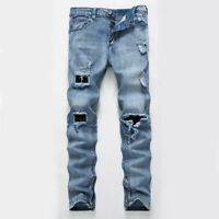 Men's Street Trousers Destroyed Ripped Hole Jeans Slim Casual Washed Denim Pants