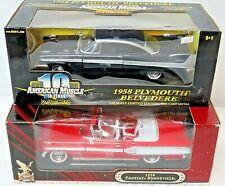 Pair Vintage 1958 1:18 Scale Pontiac Bonneville Plymouth Belvedere Diecast Metal