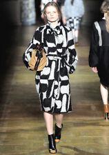 DRIES VAN NOTEN Black Ivory Mohair Wool Print Coat 38 6