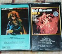 Lot Of 2 Neil Diamond Cassette Tapes- Gold Live at Troubadour & Hot Aug Night