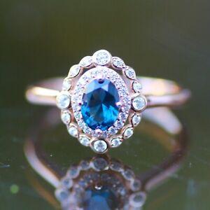 Lab Made London Blue Topaz Ring Rose Gold Vermeil , December birthstone