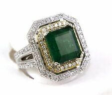 Square Colombian Emerald Ring w/Diamond Halo & Accents 14k White Gold 6.39Ct