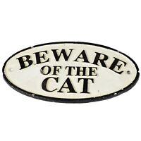 """""""Beware of Cat"""" Cast Iron Sign Plaque Door Wall House Fence Gate Post Garden"""