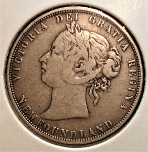 1874 Silver 50 Cent Coin from Newfoundland, Canada, Rarer