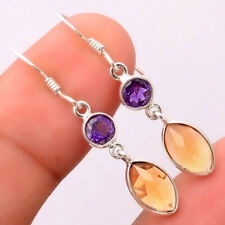 Natural Citrine and Amethyst 925 Sterling Silver Earrings Jewelry 7000