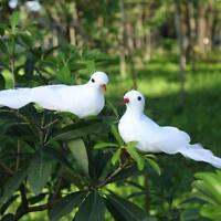 2pcs White Foam Feather Simulation Doves Wedding Table Decor Home Craft