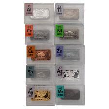 10 x 1 Gram Periodic Element Metal Ingots SILVER x 2  IRON TIN NICKEL TITANIUM