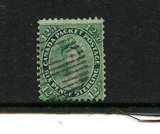 Canada #18 (Ca276) Queen Victoria 12 1/2c yellow greeen, U,Ffvf,Cv$120.00