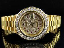 Ladies 26 MM Rolex President Datejust 18K Yellow Gold 69178 Diamond Watch 4.5 Ct