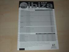 59350) Seat Ibiza Preise & Extras Prospekt 09/2003