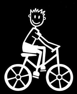 MY STICK FIGURE FAMILY Car Window Vinyl StIckers Small Boys Bike Cycle  SB6