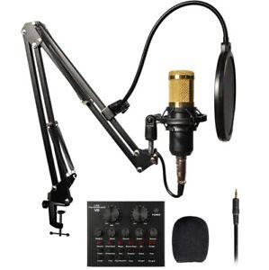 BM-800 MICROFONO CONDENSATORE PER CANTO + V8 SCHEDA AUDIO PC KARAOKE STREAMING