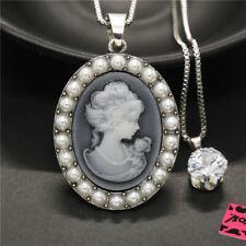 New Betsey Johnson White Girl Embossed Double Crystal Pendant Women Necklace