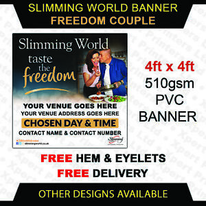 Slimming World Personalised Freedom Couple pvc vinyl banner outdoor sign 4ftx4ft