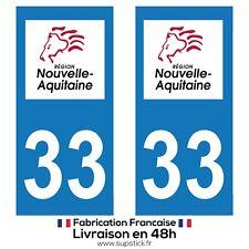 2 STICKERS AUTOCOLLANT PLAQUE IMMATRICULATION DEPT 33 REGION Nouvelle-Aquitaine