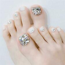 Ringstone Metallic Grey White Toe Nails. 24 False Toe Nails. Fake Toe Nail UK