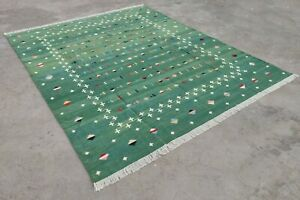 Cotton Flatweave Rug 8x10 Living Room Dhurrie Handwoven Striped Cotton Area Rug