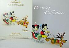 2006 Hallmark Sleigh Ride Mickey Minnie and Pluto Disney Ornament Mouse Sled MIB