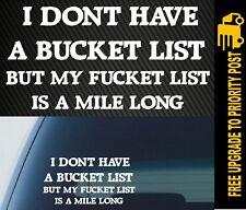 BUCKET LIST Sticker Decal Funny JDM Drift 4x4 4wd Car Ute