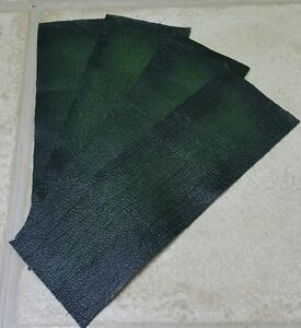 """Green Antique rub off 100% Leather 9""""×3"""" offcuts X4 1.1mm Craft Patch Repar"""
