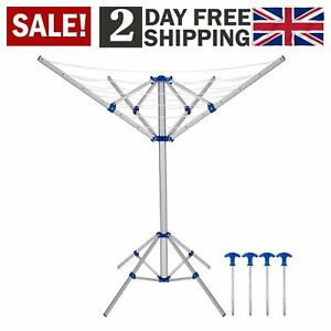 4 Arm Portable Rotary Folding Aluminium Fixable Clothes Airer Washing Line