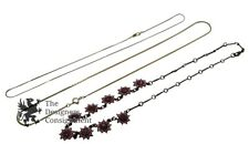 Lot Of 3 Gold Tone Plate Pink Rhinestone Flower Necklaces Chains Jewelry