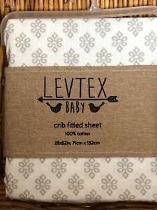 Levtex Baby ELY Gray Medallion on White Fitted Crib or Toddler Bed Sheet