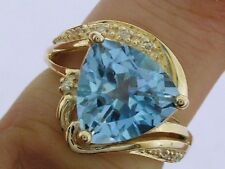 R205 Genuine 9ct SOLID Gold NATURAL Topaz & Diamond Ring Large Trillion size N